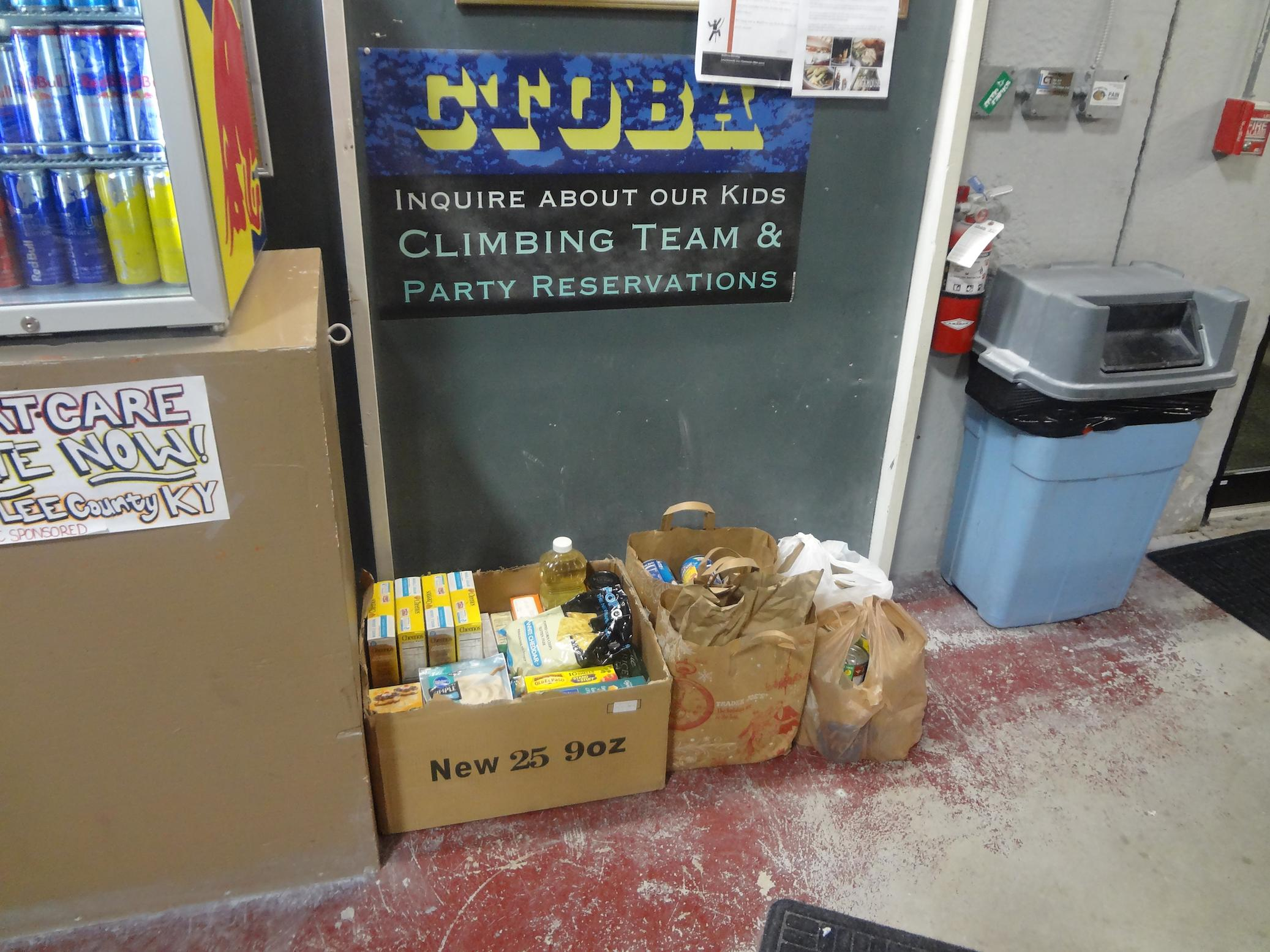 photo of donated goods at Climb Time