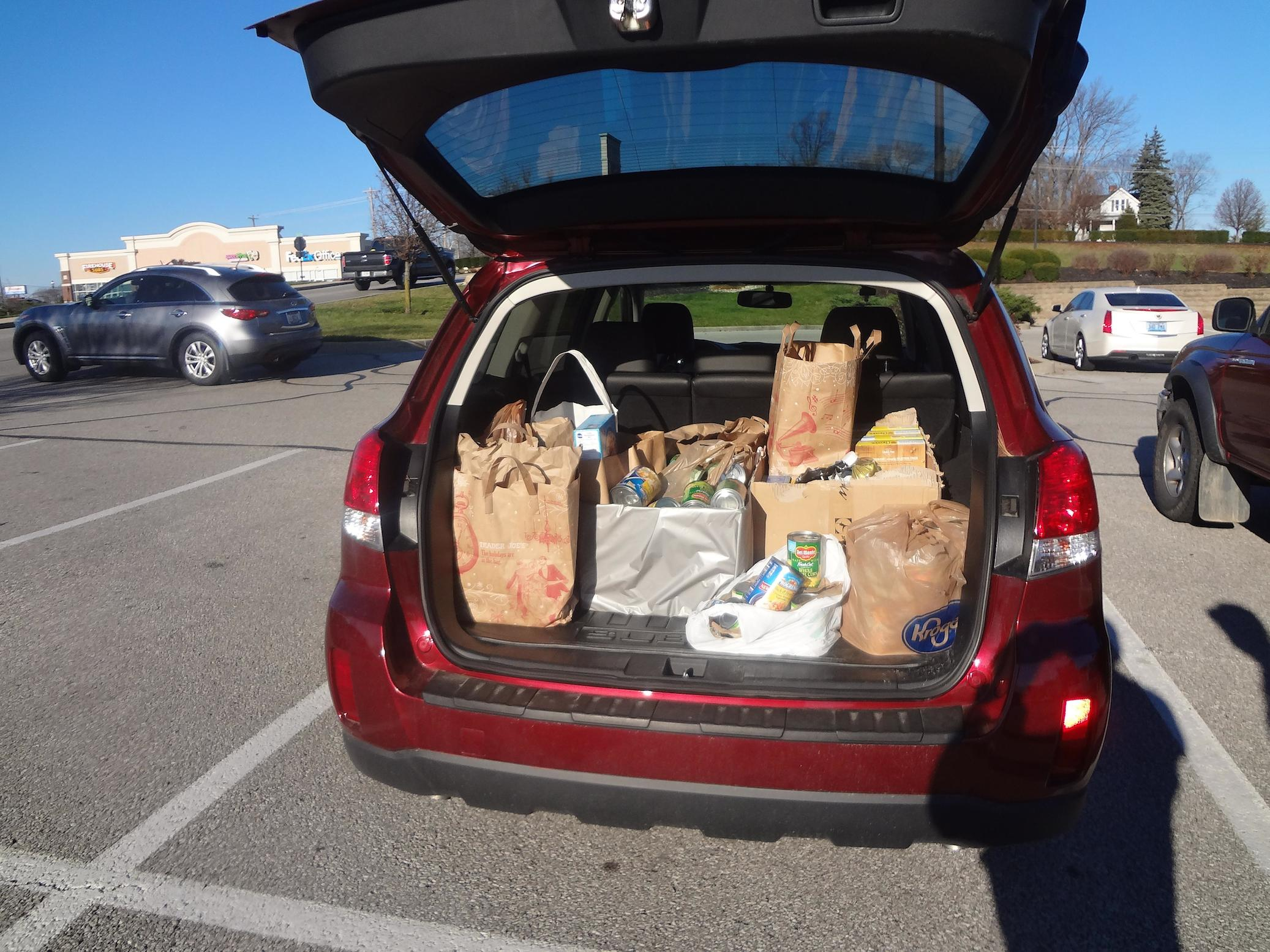 photo of donated goods in a car